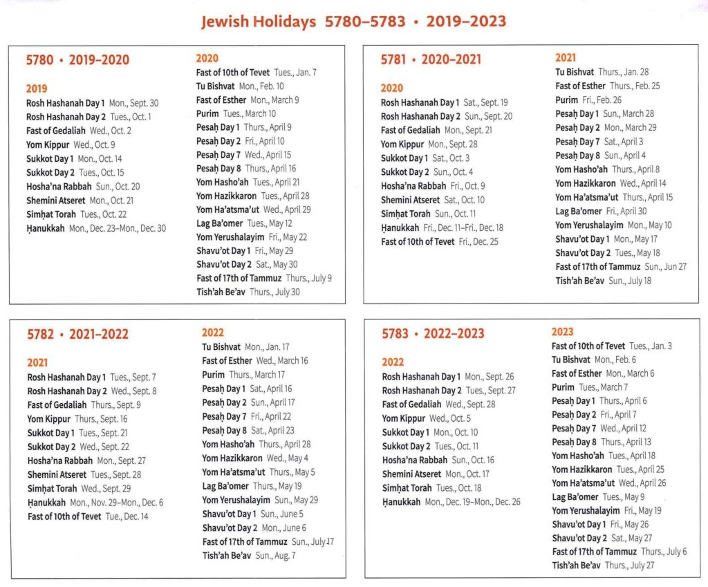 Jewish Holidays Calendar 2022.Holidays Congregation Beth Israel